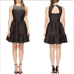Kate Spade Black Pearl Embellished Mikado Dress